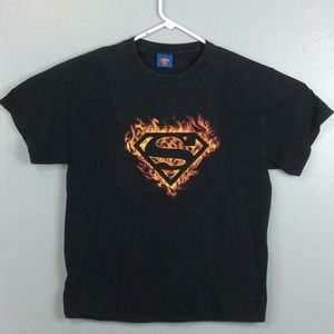 Superman Mens Black Cotton Fiery Logo TShirt Sz L